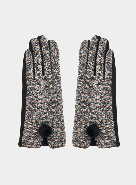 Tweed Gloves, Black