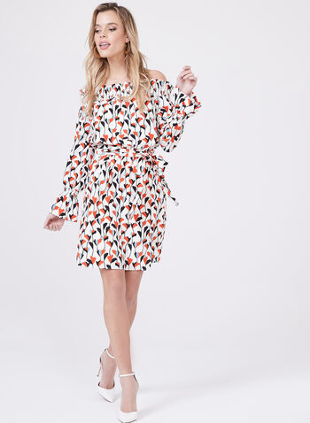Maggy London - Off The Shoulder Belted Dress, Multi, hi-res