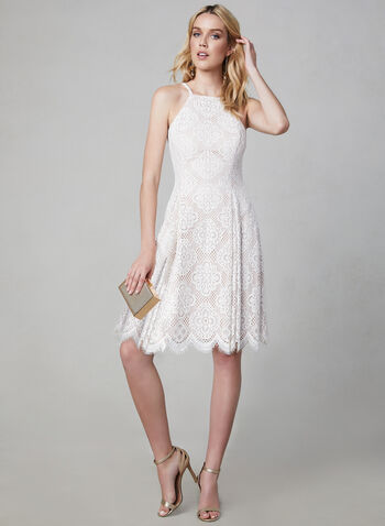 Vince Camuto - Scalloped Lace Dress, Off White, hi-res,  Cocktail dress, spring 2019, sleeveless dress,