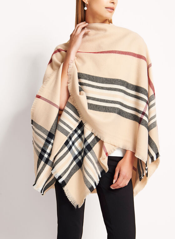 Plaid Oversized Scarf, Brown, hi-res