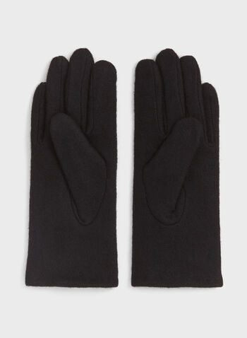 Gants en laine avec boucle en similicuir, Noir, hi-res