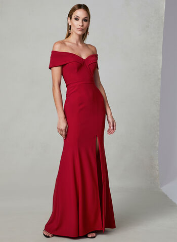 BA Nites - Off The Shoulder Dress, Red, hi-res,  sweetheart, slit, spring 2019