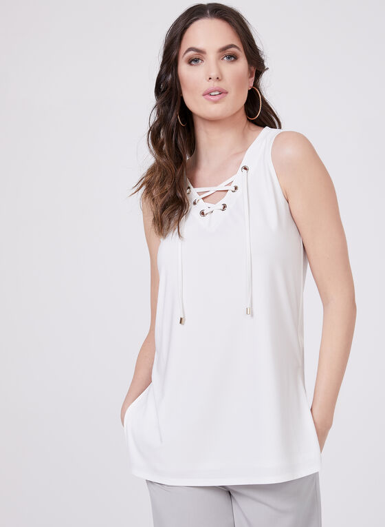 Grommet Detail Lace Up Blouse, Off White, hi-res