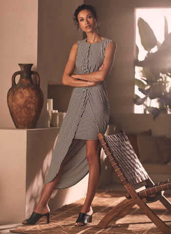 Joseph Ribkoff - Stripe Print Layered Skirt Dress, Black,  dress, day, stripe print, layered, asymmetrical, sleeveless, twist, ribkoff, lyman, spring summer 2021