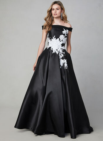 Terani Couture - Robe satinée à détails brodés, Noir, hi-res,  robe de soirée, bustier, broderies, dentelle, cristaux, satin, épaules dénudées, automne hiver 2019