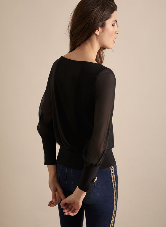 Golden Button Balloon Sleeve Top, Black