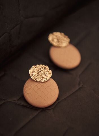 Round Button Earrings, Beige,  spring summer 2021, accessory, accessories, jewelry, jewellery, circle, circular, tiered, gold metal, faux leather, leather-like, pin closure