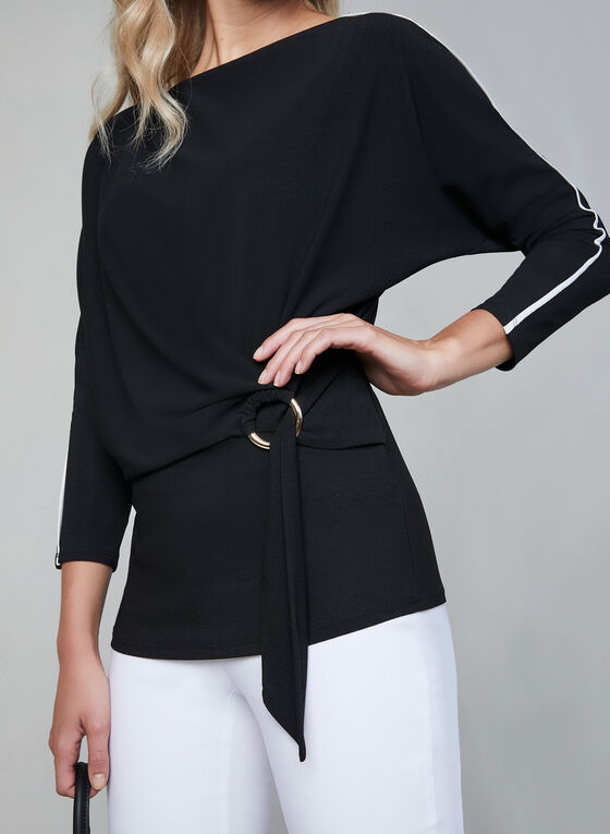 Contrast Piping Crepe Top, Black, hi-res