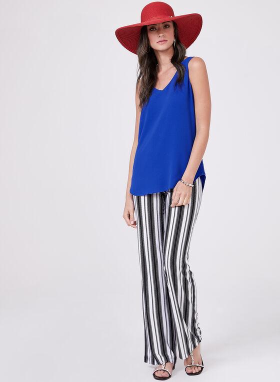 Stripe Print Pull-On Wide Leg Pants, White, hi-res