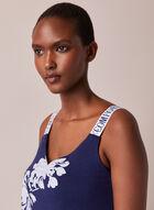 Floral Print Sleeveless Nightshirt, Blue
