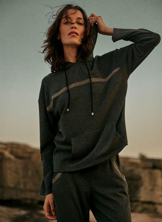 Joseph Ribkoff - Glitter Trim Hooded Top, Grey