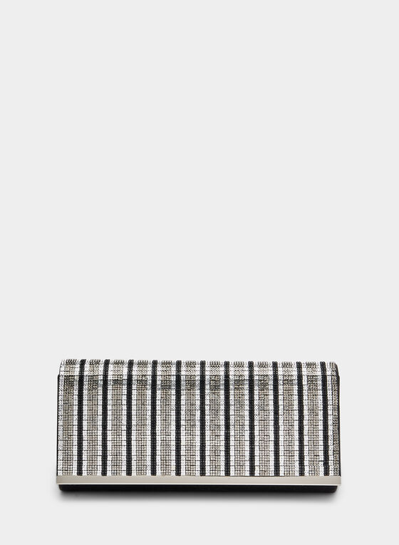 Crystal Embellished Clutch, Silver