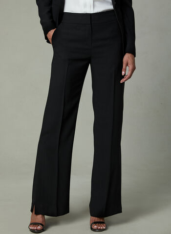 Slit Wide Leg Crepe Pants, Black, hi-res