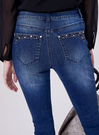 Crystal Embellished Slim Leg Jeans, Blue, hi-res
