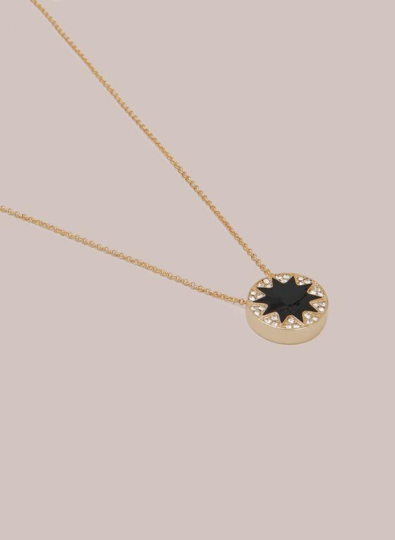 Collier à pendentif étoilé et cristaux, Noir