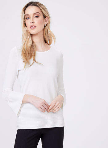 Bell Sleeve Knit Sweater, Off White, hi-res