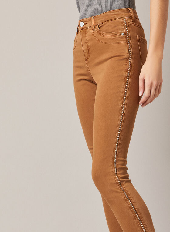 Stud Detail Slim Leg Jeans, Brown