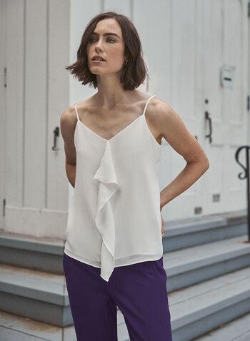 Ruffle Detail Camisole, Off White,  top, camisole, spaghetti straps, ruffle, v-neck, fall winter 2020