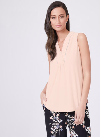 Sleeveless Metallic Trim Top, Pink, hi-res