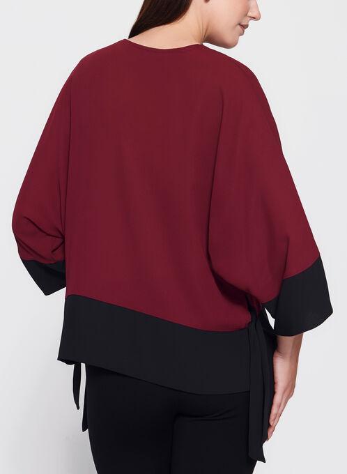 Contrast Kimono Tie Hem Blouse, Red, hi-res