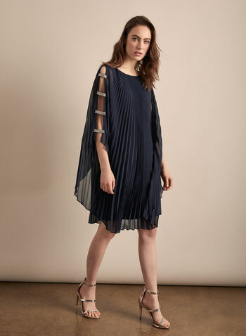 Frank Lyman - Chiffon Poncho Dress, Blue,  dress, cocktail, poncho, chiffon, pleated, rhinestones, spring summer 2020