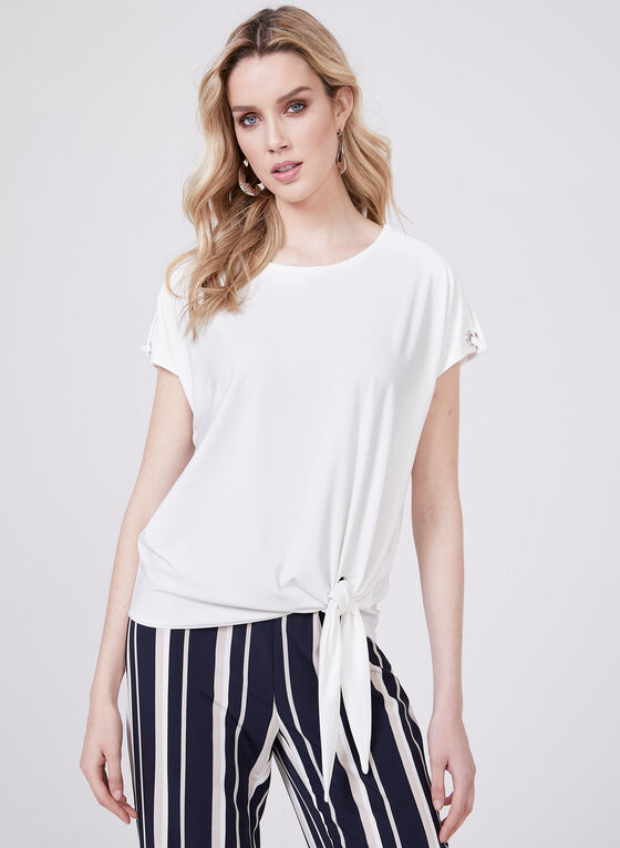 Short Sleeve Eyelet Detail Blouse, Off White, hi-res