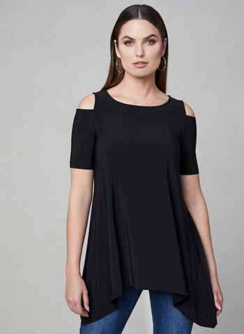 Cold Shoulder Top, Black, hi-res,  Canada, cold shoulder, short sleeves, spring 2019