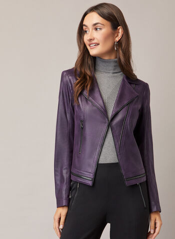 Vex - Faux Leather Zipper Detail Jacket, Purple,  jacket, faux leather, zipper detail, notched collar, fall winter 2020