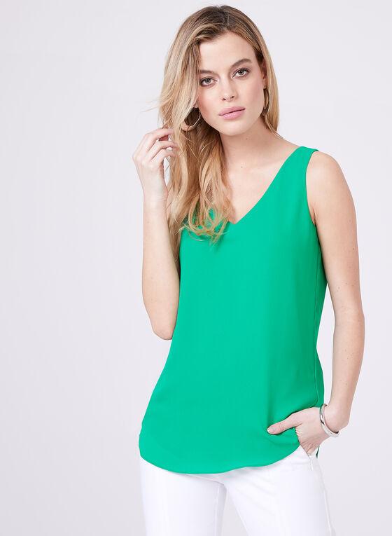 Haut sans manches en crêpe, Vert, hi-res