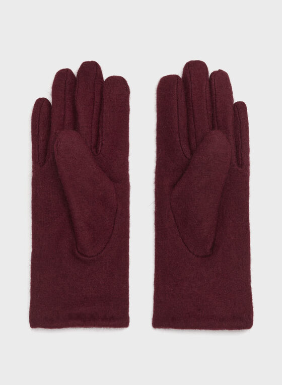 Bow Detail Wool Gloves, Red, hi-res