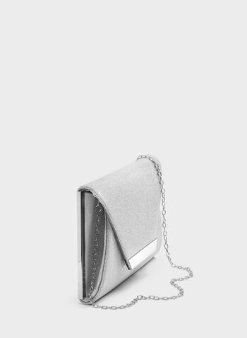 Metal Trim Glitter Envelope Clutch, Silver, hi-res