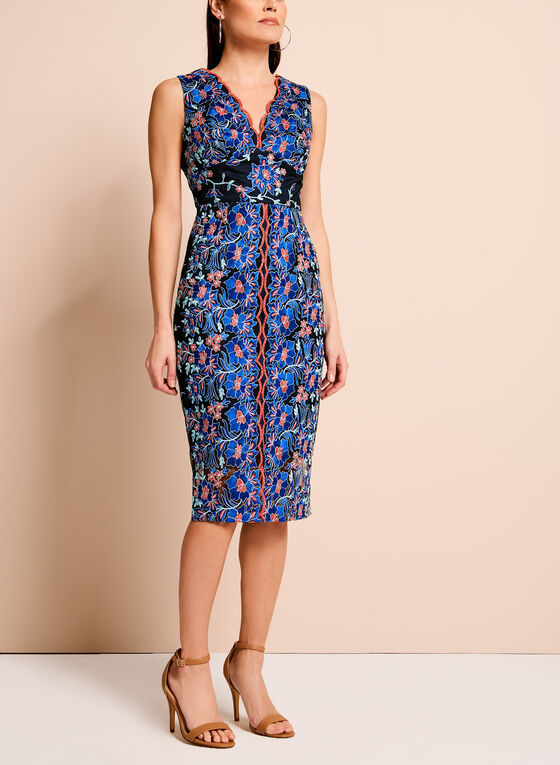 Jax Floral Embroidered Mesh Dress, Blue, hi-res