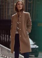 High Collar Wool Blend Coat, Brown