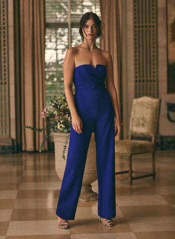 Aidan Mattox - Wide Leg Jumpsuit, Blue,  Spring summer 2020, wide leg, Stretchy crepe fabric, surplice neckline, jumpsuit