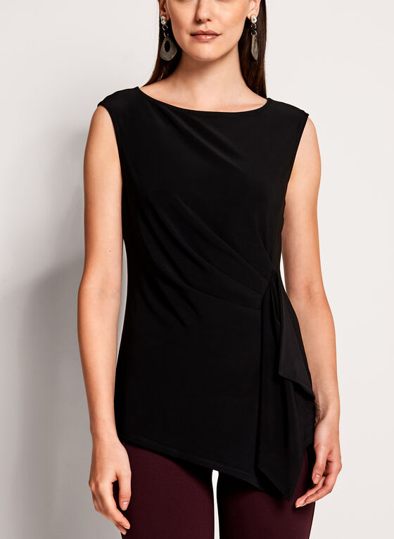 Asymmetric Drape Side Blouse, Black, hi-res
