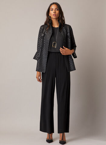 Joseph Ribkoff - Tulip Sleeve Jacket, Black,  jacket, mesh, faux leather, tulip sleeves, buttons, fall winter 2020