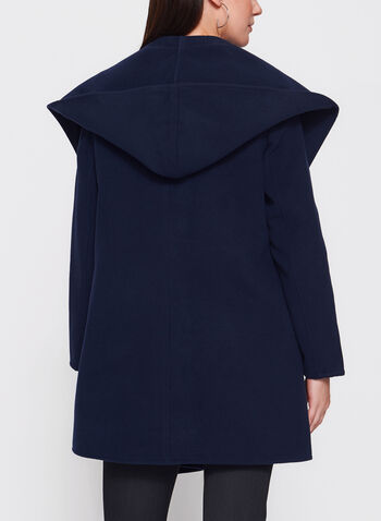 Open Front Hooded Coat , Blue, hi-res