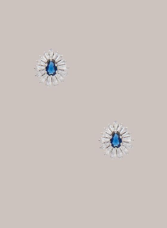 Teardrop Stone Earrings, Blue