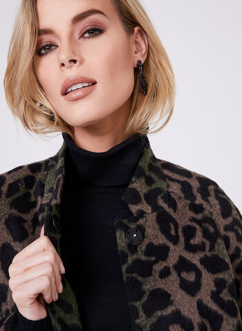 Animal Print Wool Blend Coat, Multi, hi-res