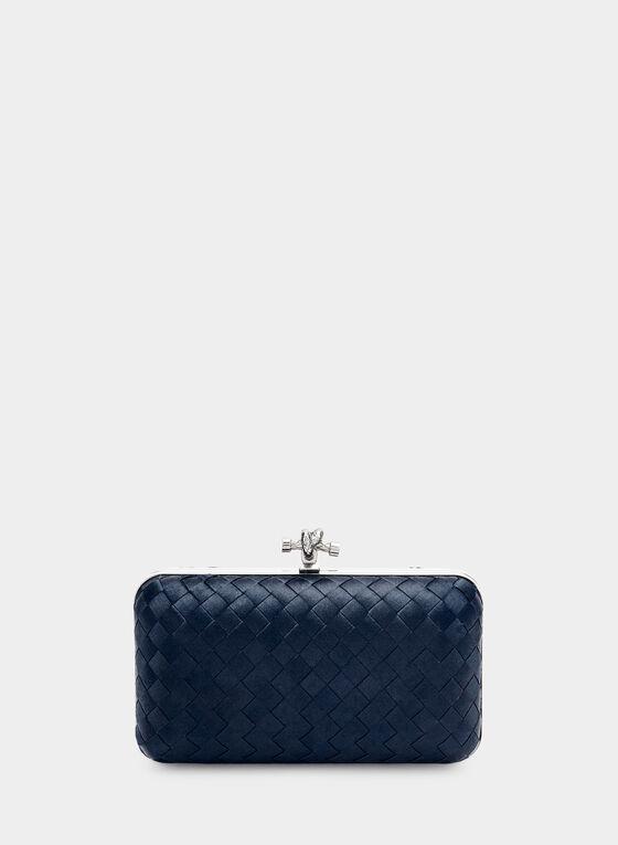 Satin Box Clutch, Blue