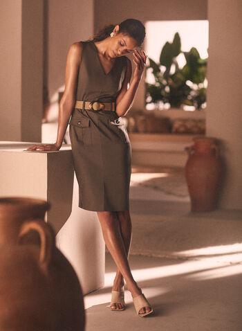 Joseph Ribkoff - Belted V-Neck Dress, Green,  dress, v-neck, sleeveless, belt, pockets, safari, ribkoff, lyman, spring summer 2021