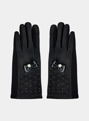 Bow Detail Faux Suede Gloves, Black, hi-res