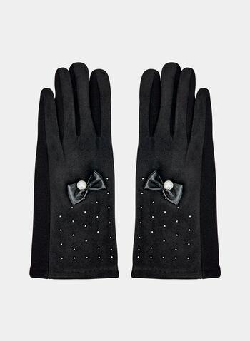Gants en faux daim et détail nœud, Noir, hi-res