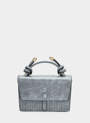 Stitch Detail Handbag, Blue, hi-res,  faux leather, metallic details, flapover, fall 2019, winter 2019