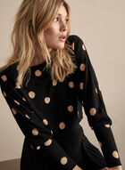 Polka Dot Print Top, Black