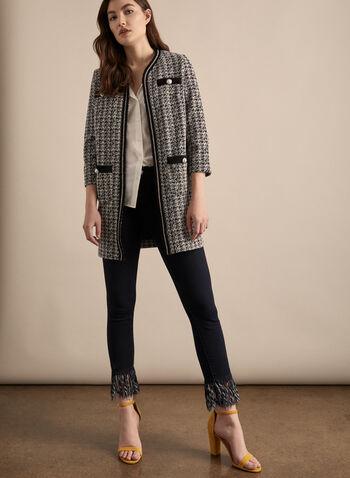 Joseph Ribkoff - Veste style Chanel, Noir,  veste, manches 3/4, ouverte, chanel, perle, franges, strass, printemps été 2020