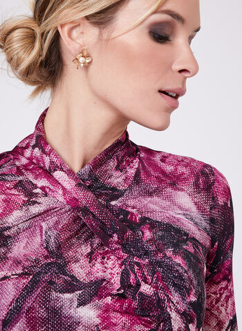 Floral Print Drape Neck Top , , hi-res
