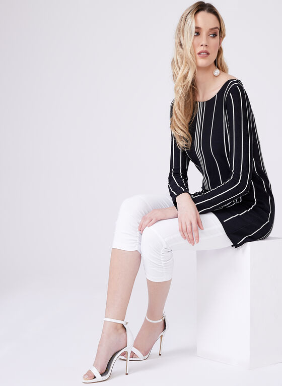 Stripe Print Tunic, Black, hi-res