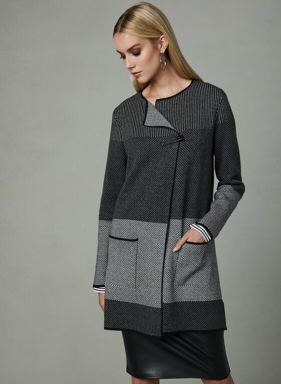 Alison Sheri - Colour Block Cardigan, Black, hi-res