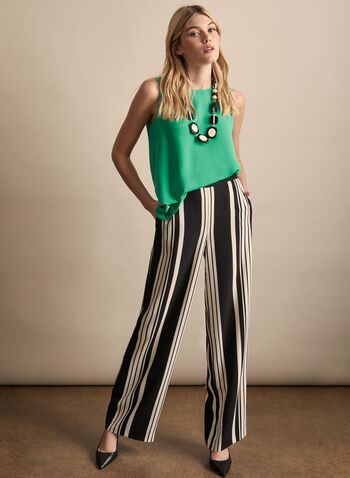 Pantalon palazzo à rayures, Noir,  printemps été 2020, pantalon, jambe large, palazzo, rayures, rayé, motif, taille élastique, pull-on, poches